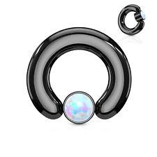 "8mm Ball Titanium Ip Black Body J Captive Nipple Ring Heavy 2 Gauge 9/16"" w/Opal"
