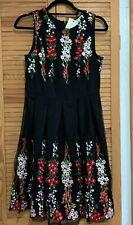 New Yumi Black Mirror Embroidery Dress, Black Floral, UK 10, RRP £50