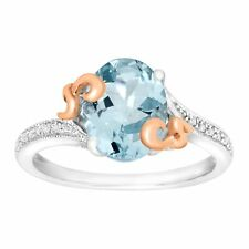 2 1/5 Ct Natural Aquamarine Ring With Diamonds in Sterling Silver 10k Rose Gold