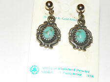 Antique finished Pewter style faux Turquoise dangle goldfill post Earrings
