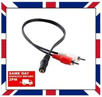 3.5mm AUDIO JACK FEMALE To 2 x RCA MALE STEREO LEAD CABLE Connector UK DISPATCH