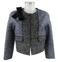 Paule Ka Jacke 38 (F) 36 (D) schwarz blau Blazer Sakko Tweed Wolle neu o Etikett