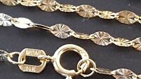 """14 k Solid Yellow Gold 1.9 mm Stamped Star Mirror Chain Necklace 18'', 20""""."""