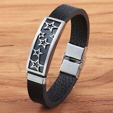 Bracelet pour homme en acier inoxydable et cuir noir étoiles 21 cm