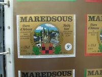 VINTAGE BELGIUM BEER LABEL. MAREDSOUS BREWERY -  9o 33CL