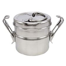Stainless Steel Lunch Box 2 Tier Indian Tiffin Round Food Container Carrier Set