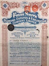 Joannesburg 1921 Mines de Diamant Afrique du Sud Share Action Frank Smith Paris