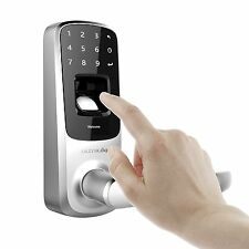 Ultraloq UL3 Fingerprint and Touchscreen Keyless Smart Lever Door Lock - Nickel
