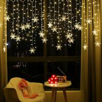 Christmas LED Curtain Window Snowflake String Fairy Lights Xmas Decor Waterproof
