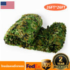 26x26FT Woodland Leaves Cover Camouflage Net Hunting Camo w/ String Netting USA