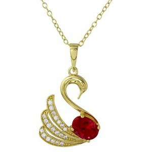 SWAN NECKLACE PENDANT W/ LAB RUBY & ACCENTS/14K YELLOW GOLD OVER STERLING SILVER