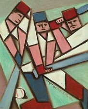 Tommervik Cubist Baseball Player Batting Baseball Art Baseball Bat Oil Painting