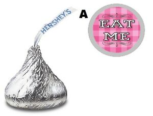 PINK OR PURPLE EAT ME ALICE IN WONDERLAND KISS KISSES LABELS STICKERS FAVORS