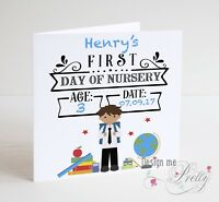 PERSONALISED BOYS FIRST DAY AT NURSERY Card - Son Grandson Brother