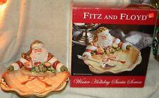"New Fitz & Floyd Winter Holiday Santa Server Platter Hand Painted 12.5"" In Box"