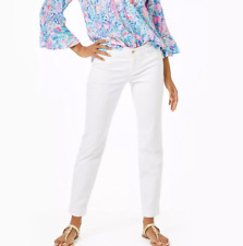 Lilly Pulitzer KELLY Skinny Ankle Pants Textured Resort White Sz 10 or 14 - $138