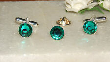 Set of Dark Turquoise/Blue Zircon/Teal S/P Cufflinks & Cravat/Tie Pin -Wedding