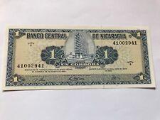Vtg Crisp Nicaragua UNC Note 1 Cordoba 1968 Serie B 25 de May0
