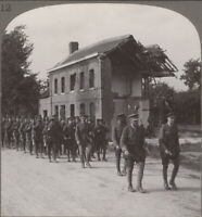 WW1. London Territorials on the March La Bassée Road in Northern France