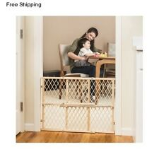 Wooden Adjustable Baby Dog Pet Gate Child Safety Fence Stairs Locking Bar Infant