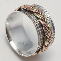 Solid 925 Sterling Silver Spinner Ring Meditation Ring Statement Ring Size SR751