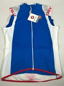 Castelli Men's Entrata Sleeveless Blue Red White Bike Jersey  Medium