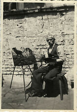 PHOTO ANCIENNE - VINTAGE SNAPSHOT - PEINTRE ARTISTE PEINTURE CHEVALET - PAINTER