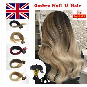 7A 16''-22'' 1g/s Remy Pre Bonded Keratin U Nail Tip Human Hair Extensions UK