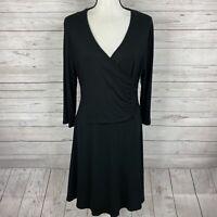 Garnet Hill Womens Brianna Surplice Knit Dress Size Large Solid Black Faux Wrap