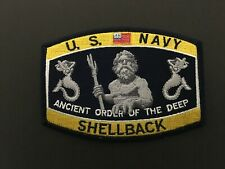 Us Navy Shellback Ancient Order Of The Deep Patch Measures 4 1/2 X 3 1/4 Inches