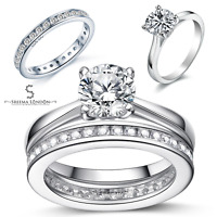 925 Sterling Silver Round Solitaire with Full Round Eternity Engagement Ring Set
