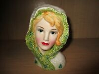 Vintage Lefton # 5920 Lady Teen Girl Head Vase Blonde Green White Lace Head Cape