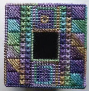 TISSUE BOX COVER HANDMADE PURPLE/BLUE/GREEN DESIGN