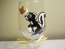 New listing Painted Wine Glass Flower Skunk friend of Bambi Chasing a Butterfly