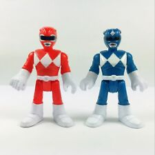 2pcs Fisher Price Imaginext Power Rangers Red & Blue Ranger Action Figures Gift