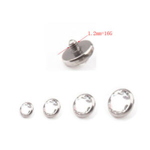 10Pcs stainless steel Dermal Anchor Tops Flat Clear Cubic Zirconia Body piercing