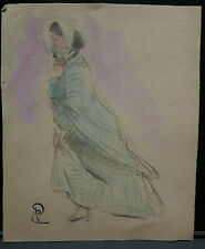 Dessin Original Aquarelle PAUL COUVREUR Femme au Foulard vers 1930 PC133