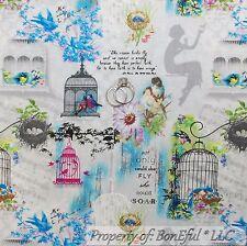 BonEful Fabric FQ Cotton Quilt Gray White Blue Flower Love Bird Cage Shabby Chic