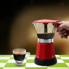 EU Plug Electric Coffee Maker Expresso Machine Moka Stovetop 300ml Red