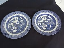 2 vintage churchill blue willow pattern dinner plates 26cm