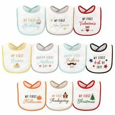 Hudson Baby Boy and Girl Holiday Bibs, Holiday 10-Pack