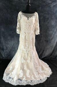 IVORY/CHAMPAGNE VINTAGE WEDDING DRESS BRIDE BY BERKETEX SIZE 12 14 16 RRP £1799