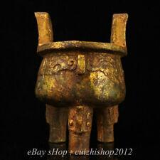 """8"""" Natural Old White Jade Gilt Dynasty Dragon Beast Ding Incense Burner Censer"""