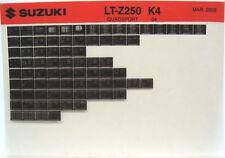 Suzuki LT-Z250 Quadsport 2004 Parts Catalog Microfiche s508a