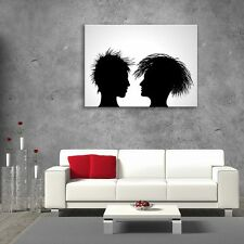 Wall Art Glass Print Picture Painting Unique People Decor White Black (cm) 80x60