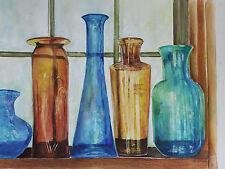 """Painter Suzanne Obrand, Holocaust Survivor, Watercolor """"Bottles"""""""
