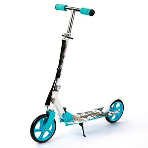 New BLUE Kart Zone Aluminium Big Wheel Foldable Push Scooter with Carry Strap