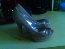 BEIGE Patent BEIGE SUEDE  Peep Toe Platform Stiletto Heel #Layers-06 SEXY 7.5 M