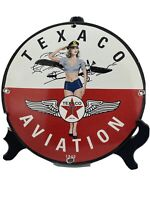 1940 VINTAGE ''TEXACO AVIATION''  GAS & OIL PUMP PLATE 12 INCH PORCELAIN SIGN