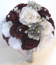 Wedding Bouquets Silk Flower Bouquet 17 pc Bridal package BURGUNDY SILVER GRAY